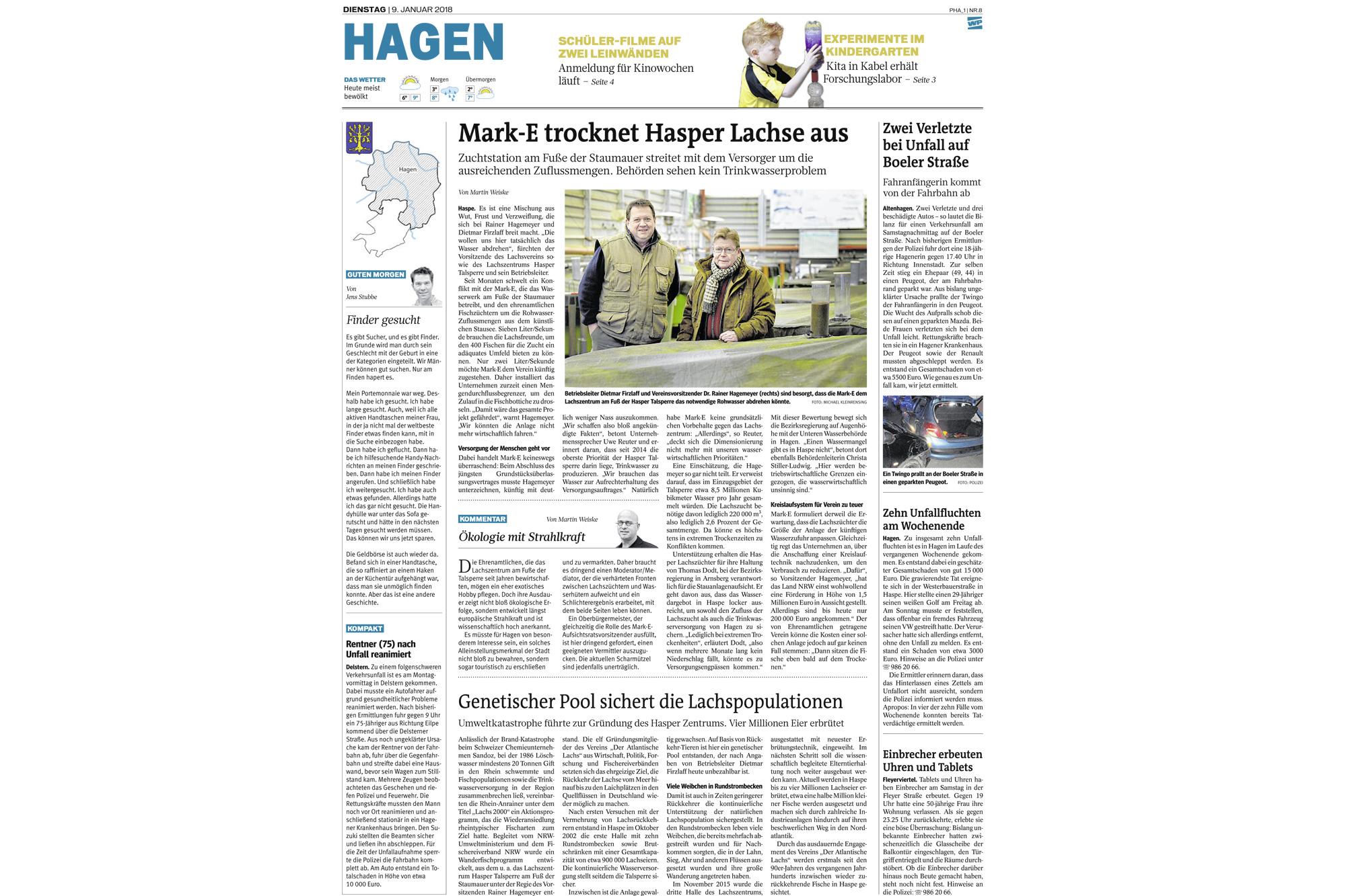 Artikel Westfalenpost 9. Januar 2018