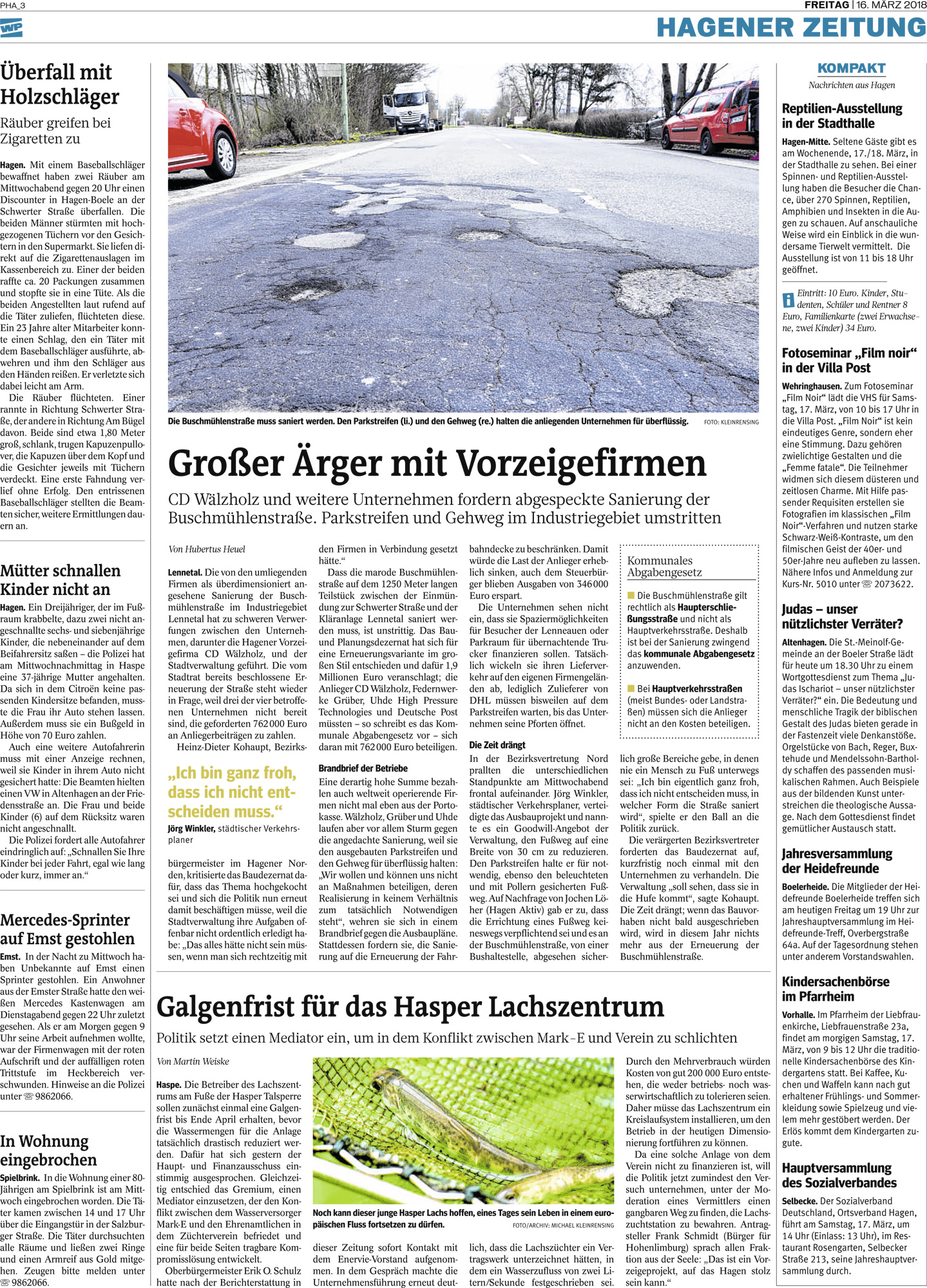 Westfalenpost März 2018 Galgenfrist für das Lachszentrum Hasper Talsperre