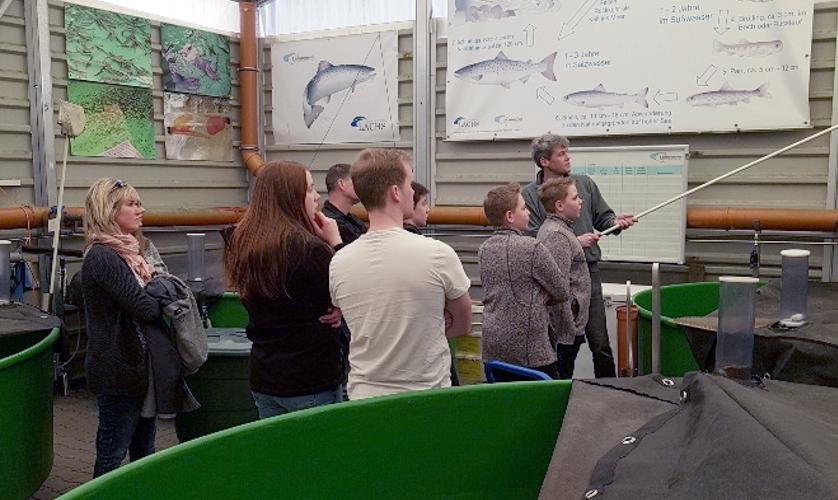 Besuch der Jugendgruppe des Frankenberger Naturschutzvereins am Lachszentrum Hasper Talsperre, März 2019