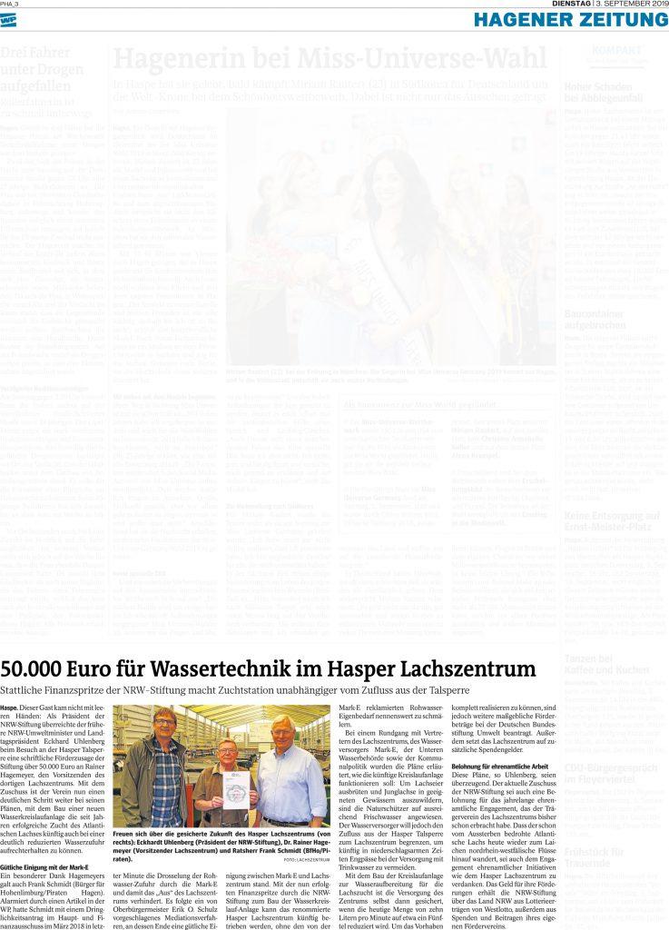 Artikel Westfalenpost 3. September 2019