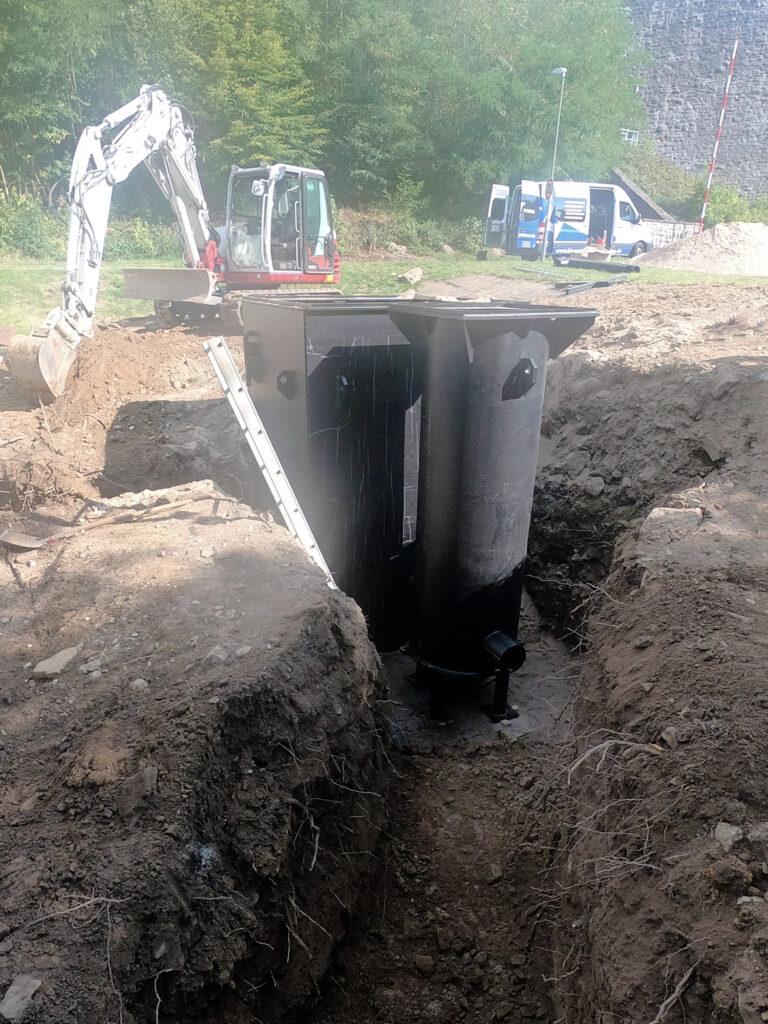 Eingraben der Pumpensümpfe